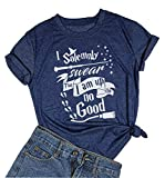 Women's I Solemnly Swear That I Am Up to No Good T-Shirt Funny Halloween Letter Print Tee Tops (Small, Blue)