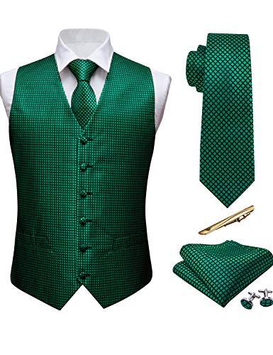Barry.Wang Juego de 5 chalecos para hombre con complementos y diseño de cachemira Verde Verde esmeralda. 85