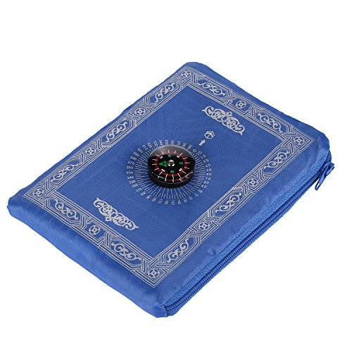 Anlising Islamic Travel Prayer Mat with Compass Pocket Sized Carry Bag and Attached Compass Prayer Rug Portable Polyester 60 * 100cm Blue
