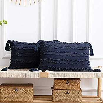 DEZENE Navy Throw Pillow Cases  2 Pack 12x20 Inch Boho Stripe Cotton Linen Rectangular Decorative Pillow Covers with Tassels for Farmhouse Couch Sofa Chair Nave Blue