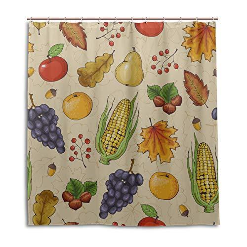 Yushg Bad Duschvorhänge Herbst Obst Gemüse Apfel Orange Bauernhaus Stoff Duschvorhang 66 X 72 Zoll maschinenwaschbare wasserdichte Badezimmer Vorhänge