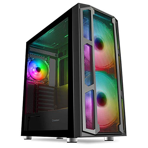 GameMax F15M ATX PC Gaming Case, ARGB, Panel Frontal de Malla, Vidrio Templado, Cubo ARGB | Negro