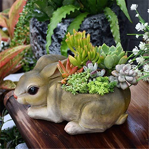 BGHYU Pastoral Lindo Animal de simulación Conejo suculento Maceta Adornos de Resina jardín al Aire Libre figuritas Craf