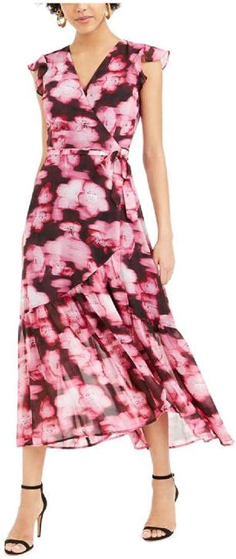 bar III Women's Cap Sleeve Maxi Fit + Flare Formal, Floral Mist, Medium