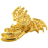 MAYBO SPORTS Wiitin Cool Dragon Wings Eyes Fidget Spinner Toy Made by Metal, Low Noise High Speed Focus Toy with Steel Self-Lubricating Bearing,Phoenix,Shiny Golden Color