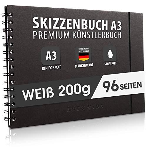 Skizzenbuch PREMIUM Qualität 200 g/m² mit schwarzer Spiralbindung A3 Querformat – Blattgröße 41,3 x 29 cm, Reißfestes, nicht ausblutendes, säurefreies Papier Weiß, Sketchbook - aus DEUTSCHLAND