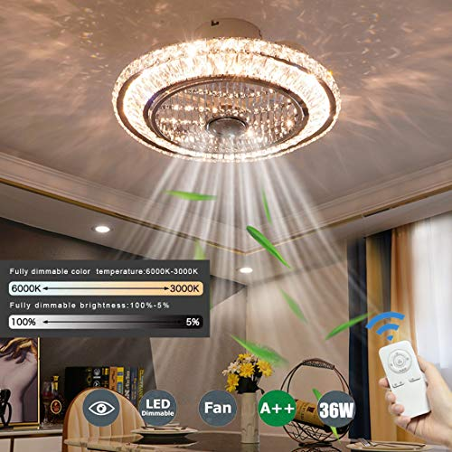 QJUZO Cristallo Ventilatore da Soffitto con Luce e Telecomando Plafoniera con Ventilatore 3 Colori dimmerabili, 36W LED Lampada a soffitto plafoniere per Soggiorno Camera da Letto Ø50cm