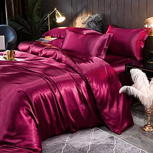 juego de ropa de cama 160x200,Suministros de cama de seda de doble cara desnuda seda seda sábanas de cuatro piezas conjunto de almohadas, regalo del día de la madre-Esconder_1,8 m de cama (4 piezas)