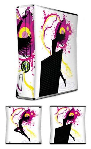 DeinDesign Cover kompatibel mit Microsoft Xbox 360 Slim Case Skin Sticker aus Vinyl-Folie Aufkleber Frau Tanzen Klecks