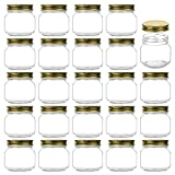 Encheng 8 oz Glass Jars With Lids,Ball Regular Mouth Mason Jars For Storage,Canning Jars For Caviar,Herb,Jelly,Jams,Honey,Dishware Safe,Set Of 24 … …