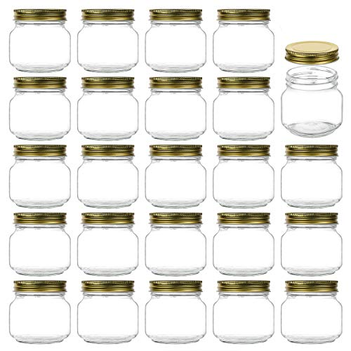 Encheng 8 oz Glass Jars With Lids,Ball Regular Mouth Mason Jars For Storage,Canning Jars For Caviar,Herb,Jelly,Jams,Honey,Dishware Safe,Set Of 24 …
