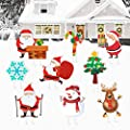 Flagicon Christmas Outdoor Decorations, 9pcs Large Size Snowman and Santa Decor Xmas Yard Sign with Stake for Patio Lawn Garden Pathway Walkway Themed Party Holiday Home Decorations
