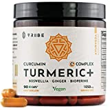 Turmeric Curcumin C3 Complex + Boswellia + Ginger & Bioperine - 90 Vegan Capsules - 95% Curcuminoids - Formula with Black Pepper Absorption Enhancer - Detox Mood Support Reduce Joint Discomfort