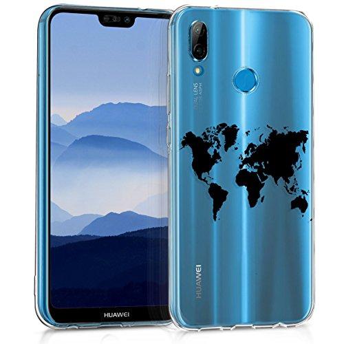 kwmobile Carcasa Compatible con Huawei P20 Lite - Funda de TPU y Mapa del Mundo en Negro/Transparente