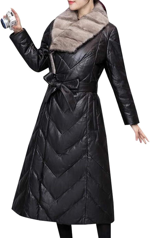 Gocgt Womens Long Sleeve Faux Fur Collar Long Down Jacket Overcoat with Belt