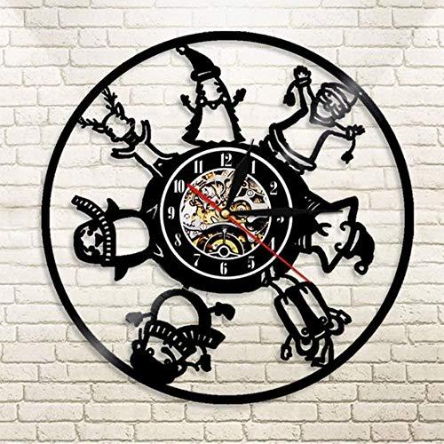 youmengying Co.,ltd Relojes De Pared Feliz Navidad Santa Vinilo Reloj Lámpara De Pared Registro Hecho A Mano Decoración De Pared Regalo Reloj Reloj