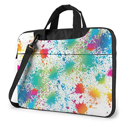 Laptop Bag 15.6 Inch Laptop Sleeve Case with Shoulder Straps & Handle/Notebook Computer Case Briefcase Compatible with MacBook/Acer/Asus/Hp - Paint Splatter Colorful