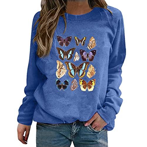 Dasongff Camiseta de verano para mujer, parte superior de flores, estampado informal, manga larga, cuello redondo, holgada, informal, básica, elegante, suelta, para uso diario