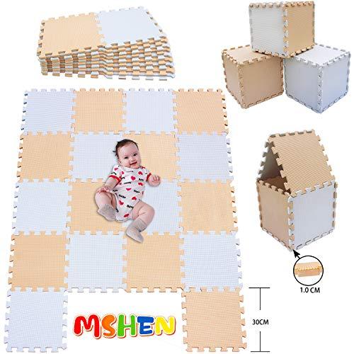 MHEHN 18 tabletas Alfombra Puzzle Bebe/Alfombra Infantil/Puzzle Suelo Bebe/Suelo Goma eva. Tamaño 1.62 Cuadrado.blanco-beige--0110