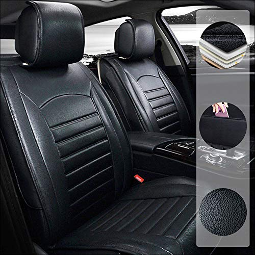 Car Seat Cover for Land Rover Discovery Discovery Sport 5-Seats Protection Soft Waterproof Full Set PU Leather Car Front+Rear Seat Pads Black Standard 5PCS