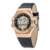 MASERATI Men's Potenza Stainless Steel Quartz Leather Strap, Black, 13 Casual Watch (Model: R8821108030)