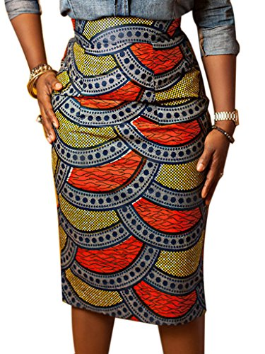 Joeoy Women's High Waist Vintage Printed Midi Pencil Skirt-M