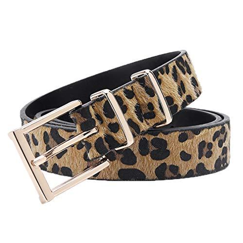Yueling Weibliche Gürtel Frauen Rosshaar Gürtel mit Leopard Muster Rose Gold Metall Schnalle Frauen Pu Gürtel 125 cm Yellow 90cm 28to31 Inch