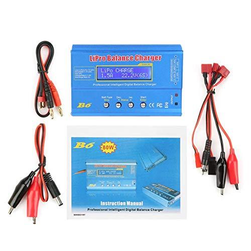 EVTSCAN último cargador RC, cargador de equilibrio Lipo B6 80 W descargador de cargador de equilibrio LCD digital, apto para batería LLiPo NiMH RC(Without plug)