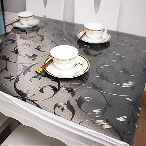 WUJIANCHAO Frosted Translucent Tischdecke Küchentischabdeckung Wasserdichte Tuch PVC Weichglas Tischdecke Ship By Roll Schwarze Tischdecken Tischdecken Style-03 70x140cm