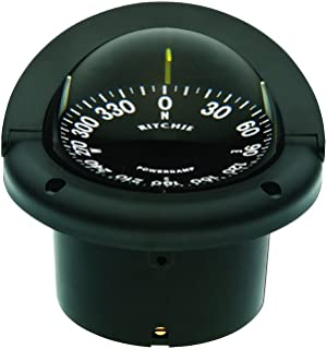 Ritchie Helmsman Compass Flat-Card Dial with Flush Mount and 12V Green Night Lighting (Black, 3 3/4-Inch)