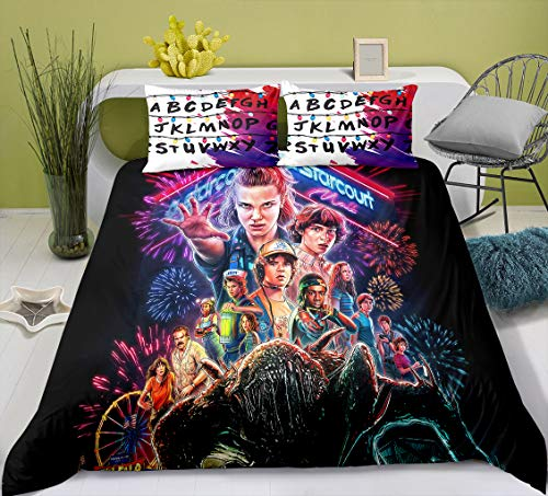 Ruiqieor Single Duvet Cover Set,Stranger Things Duvet Covers, Stranger Things pattern Duvet Cover With Zipper,Microfibre,Bedding Set with Pillowcases,Quilt Cover 135x200cm(#12)