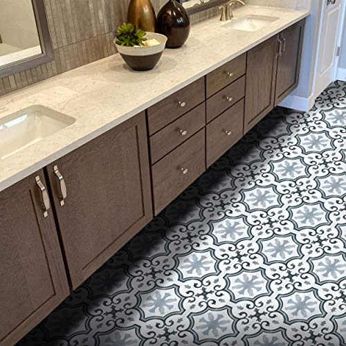 Moroccan Mosaic & Tile House PCT02-05 Palma Ceramic Floor and Wall Tile, 10x10, Black, Grey, and White