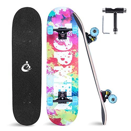 Completo Skateboard para Principiantes, Skate Board 80x20cm Longboard con Rodamiento ABEC-7, 8 Capas Pro Monopatín de Madera de Arce, Tabla de Skateboard para Adolescentes Niñas Niños Adultos