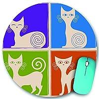 KAPANOU ラウンドマウスパッド カスタムマウスパッド、猫の存在から4点、PC ノートパソコン オフィス用 円形 デスクマット 、ズされたゲーミングマウスパッド 滑り止め 耐久性が 200mmx200mm