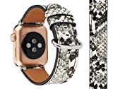 Compatible with Apple Watch Band 38mm 40mm, 3D Snakeskin Print Soft Leather Watch Strap Replacement Wristband Bracelet for Apple Watch Series 5 4 3 2 1 (38mm/40mm, White Snake+Silver Adapter/Buckle)