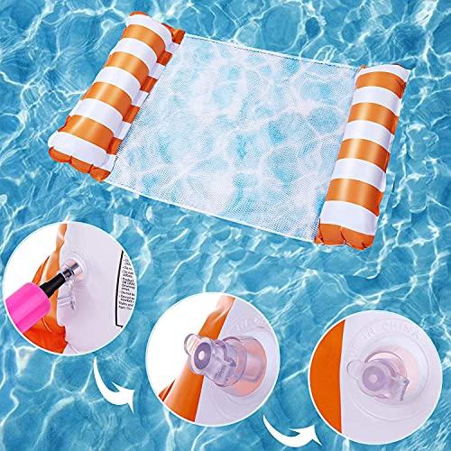 Sunshine smile Aufblasbare Wasserhängematte, 4 in 1Aufblasbares Schwimmbett,Wasser Hängematte Pool,Pool Aufblasbare Hängematte,Aufblasbare Hängematte,Wasserhängematte mit Netz Erwachsene (Dunkelblau)