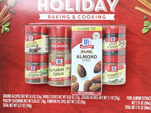 McCormick Holiday Pack Ground Nutmeg 1.1 Oz, Ground Allspice 0.9 Oz, Pumpkin Pie Spice 2 Oz, Almond Extract 2 Oz, Whole Cloves 0.62 Oz, Poultry Seasoning 0.65 Oz