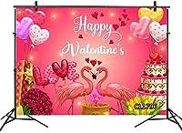 新しいバレンタインデーのフラミンゴの背景7x5ftラブハートバルーンローズフラワーケーキパーティー写真背景誕生日パーティーの装飾カスタマイズされた写真ブースの小道具