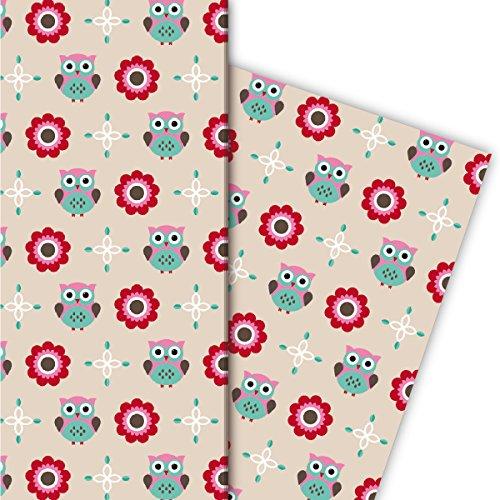 Kartenkaufrausch schattige uilen cadeaupapier set voor nobele cadeauverpakkingen voor kinderen/baby, roze groen, 4 vellen, 32 x 47,5 cm decorpapier, inpakpapier om te knutselen