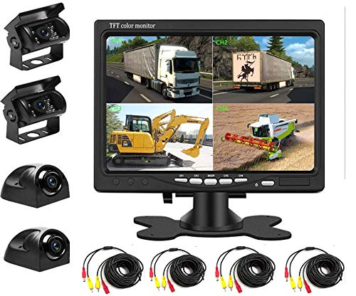 Backup Camera Kit 7 inch 4-Spilt Monitor Rear View Cameras with IP 67 Waterproof 18 IR Night Vision Car Camera for Tucks, RVs,Trailers,Bus,Vans + 4pcs 10m/393.7inch Cables