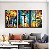 Cuadros abstractos sobre lienzo para pared con paisaje, carteles e impresiones, cuadros de lluvia de la calle del bosque para vivir la decoración del hogar de Roma