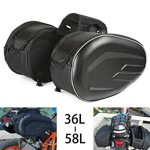 Motorcycle Saddlebags, Motorbike Panniers, Waterproof Travel Luggage Side Bags, Universal Saddle bags/ 36-58L Expandable Capacity