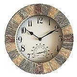 Reloj de Pared Retro, Reloj de Pared de Resina, Reloj de Pared Impermeable para Exteriores con termómetro, para Pared, jardín, Patio