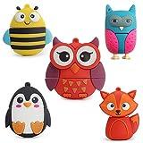 LEIZHAN Chiavetta USB 2.0 32GB a Forma di Animali Pendrive Flash Drive Memorie Regalo per Bambini-Pinguino Volpe API Gufi-5 Pezzi