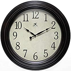 Infinity Instruments Classic Indoor Brown 24 inch Traditional Brown Decorative Wall Clock Living Room Bedroom Decor Easy to Read