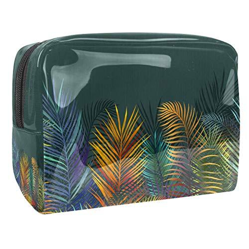 Trousse de toilette multifonction pour femme Motif palmier arc-en-ciel