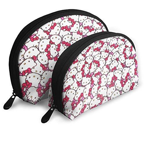 Hello Kitty Bolsa de maquillaje portátil Bolsa de embrague monedero para mujeres multifunción bolso organizador de viaje bolsa de almacenamiento con cremallera 2 unids)