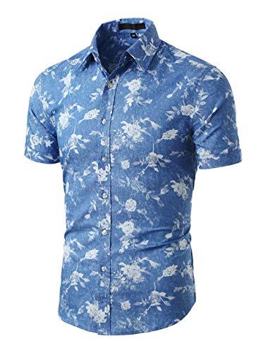 uxcell Herren Kurzarm Knopfleiste Fishbone Muster Shirt Hemd Denim Blau Blumen 46