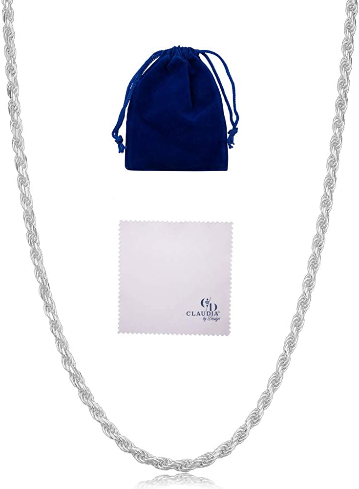 Claudia By Design Italian Diamond 限定品 Solid Silver Rope 高品質 Sterling Cut