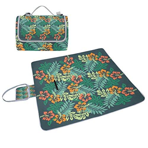 Coosun Hibiskus Picknickdecke mit tropischen Blumen, handliche Matte, schimmelresistent und wasserdicht, Camping-Matte für Picknicks, Strand, Wandern, Reisen, Camping und Ausflüge